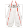 Szívószálas üvegek tartóban - 4 x 0,4 L
